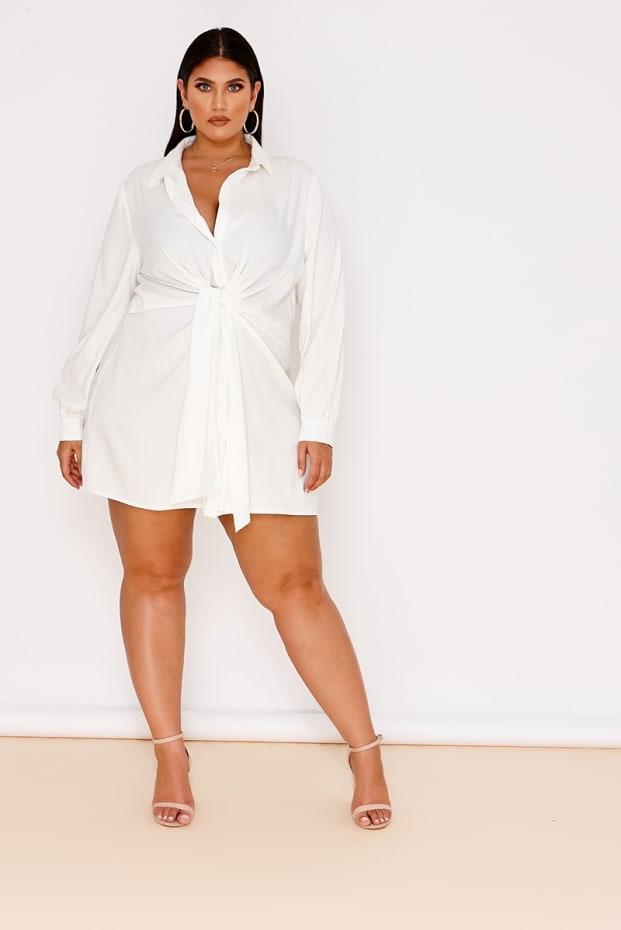CURVE LATECIA WHITE TIE FRONT SHIRT DRESS