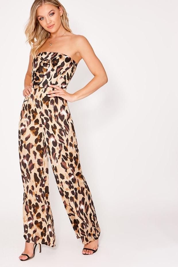 3406089a708 Harryet Gold Satin Leopard Print Beandeau Tie Front Jumpsuit