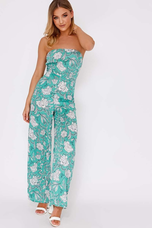 BUNTY GREEN FLORAL TIE BACK JUMPSUIT