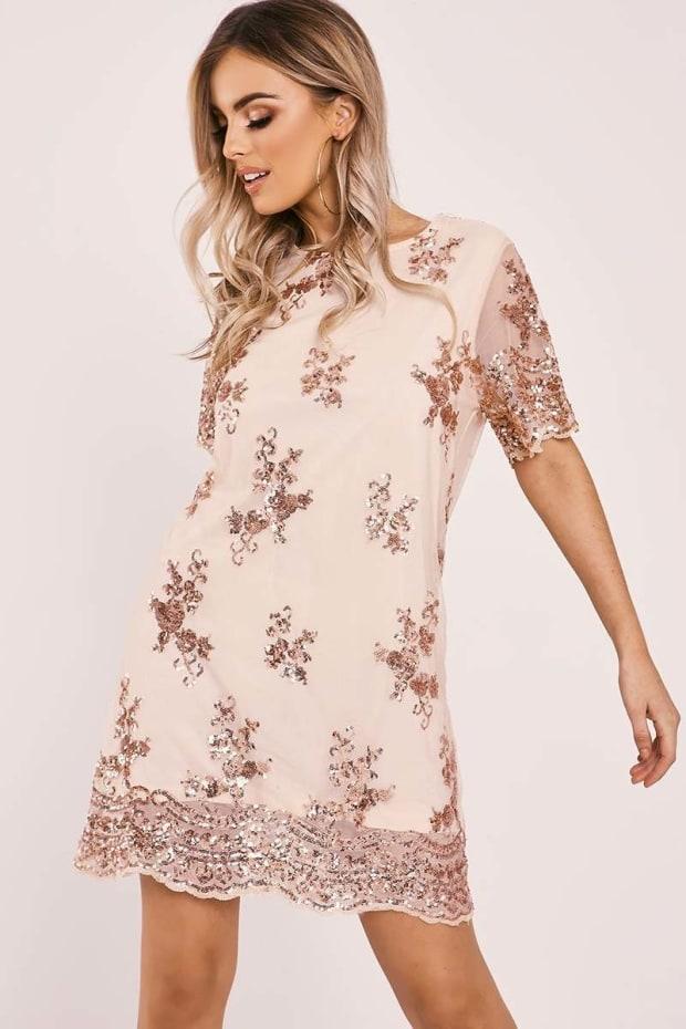 ELYTA ROSE GOLD FLORAL SEQUIN T SHIRT DRESS