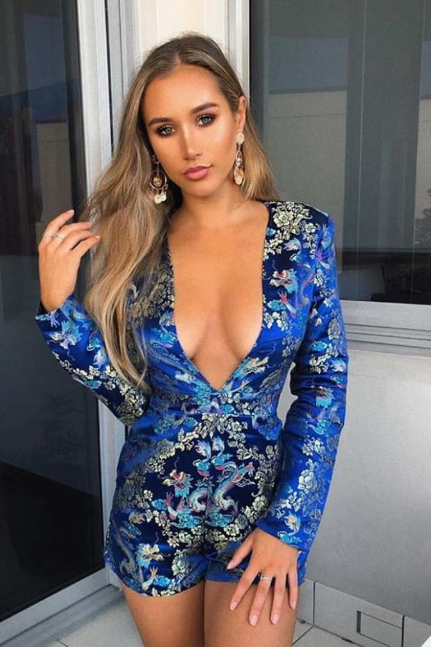 2842426ad36 Pia Mia Blue Jacquard Plunge Long Sleeve Playsuit