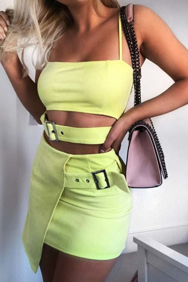 PIA MIA YELLOW FAUX SUEDE BUCKLE DETAIL WRAP SKIRT