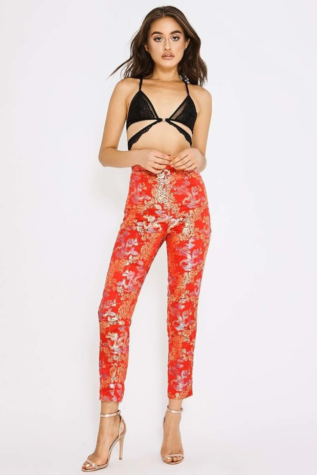 PIA MIA RED TAPERED ORIENTAL JACQUARD TROUSERS