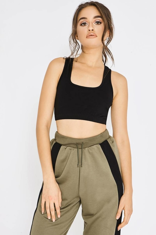 PIA MIA BASIC BLACK RACER BACK SPORTS CROP TOP