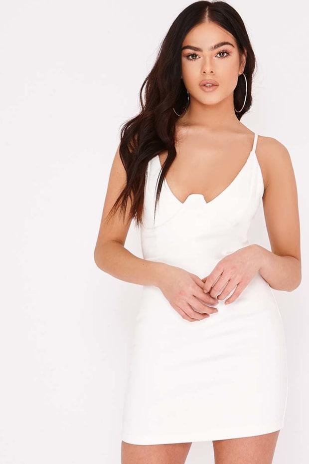 PIA MIA WHITE FAUX SUEDE UNDERWIRE MINI DRESS
