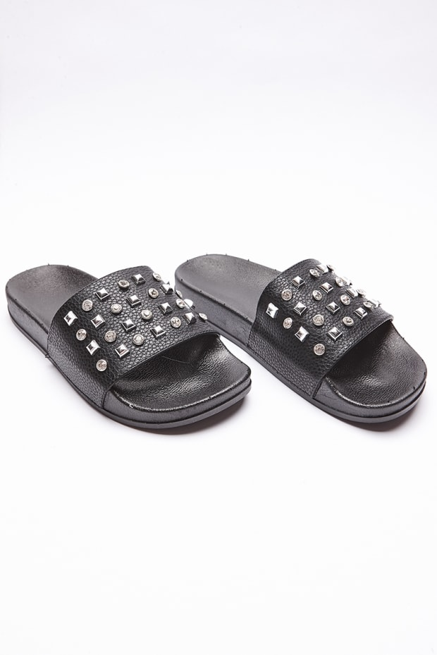 VEDRE BLACK DIAMANTE SLIDERS