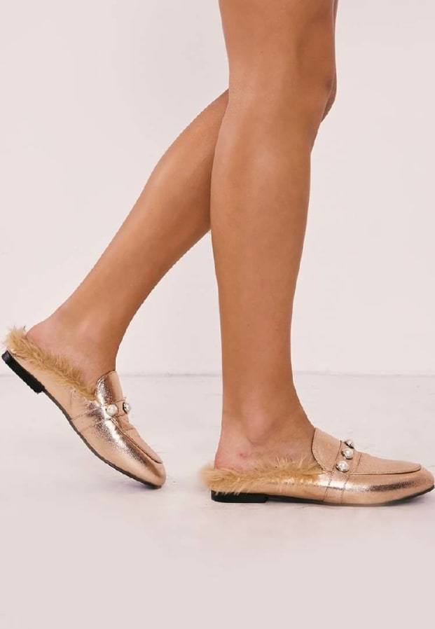 RANELL ROSE GOLD PEARL DETAIL FAUX FUR BACKLESS LOAFER