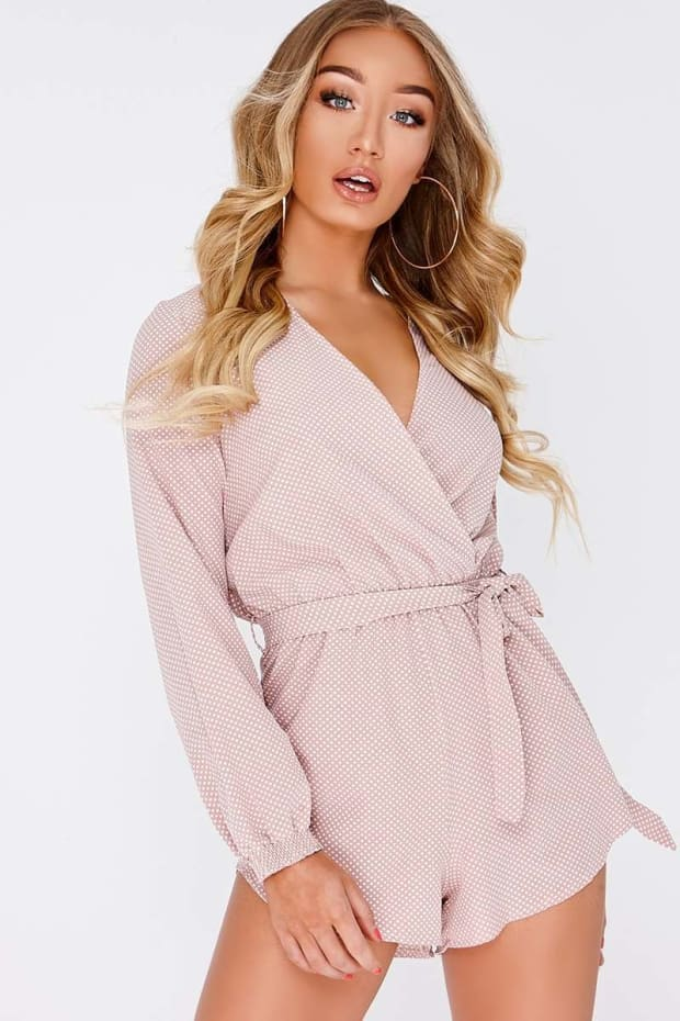 BESSI NUDE SATIN POLKA DOT WRAP FRONT PLAYSUIT