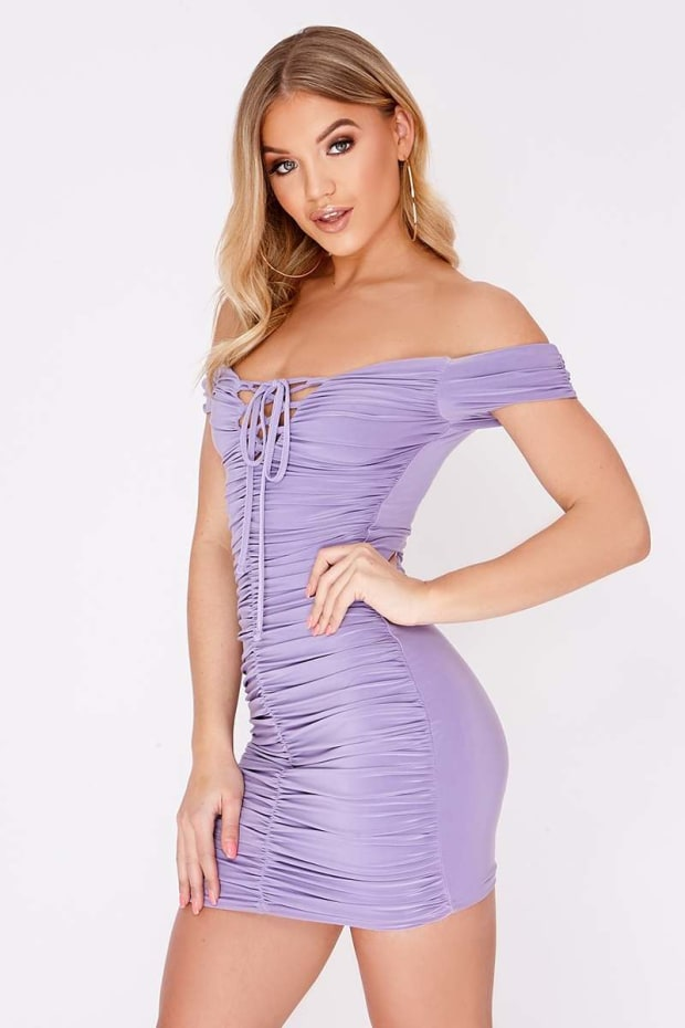 CAITRYN LILAC LACE UP RUCHED BARDOT MINI DRESS