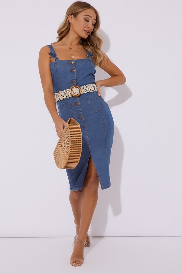 ce898feed3 Nataviah Blue Button Through Denim Midi Dress