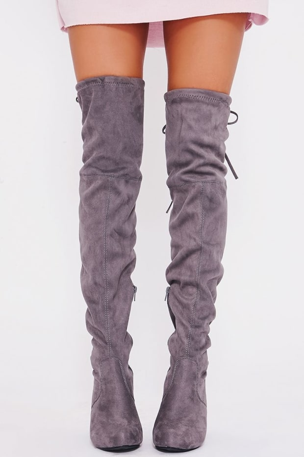 04793269e95 REMI GREY FAUX SUEDE OVER THE KNEE HEELED BOOTS. Next