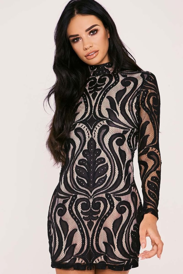 SARAH ASHCROFT BLACK FLOCKED LACE HIGH NECK MINI DRESS