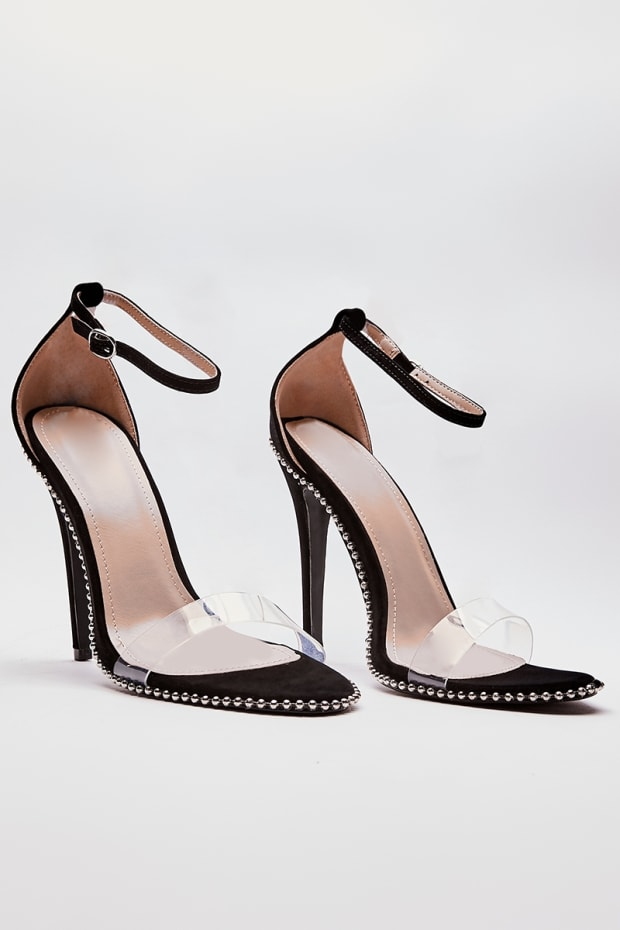0d97cf3d7df3 Previous. SAWYER BLACK STUDDED CLEAR STRAP BARELY THERE HEELS. SAWYER BLACK  STUDDED CLEAR STRAP BARELY THERE HEELS