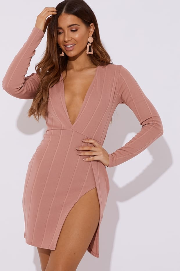 LATIFAH BLUSH BANDAGE PLUNGE FRONT MINI DRESS