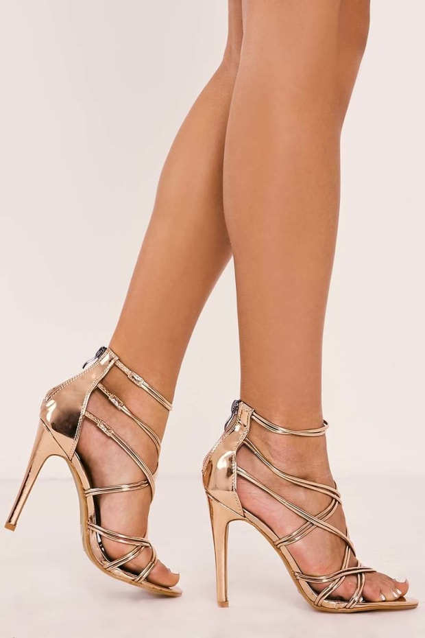 TAMMEY ROSE GOLD STRAPPY HEELS