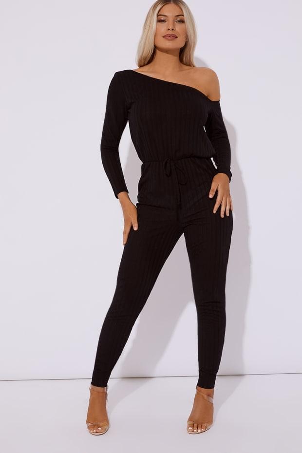 a47e7e0cd00c Aleaha Black Ribbed Off Shoulder Jumpsuit