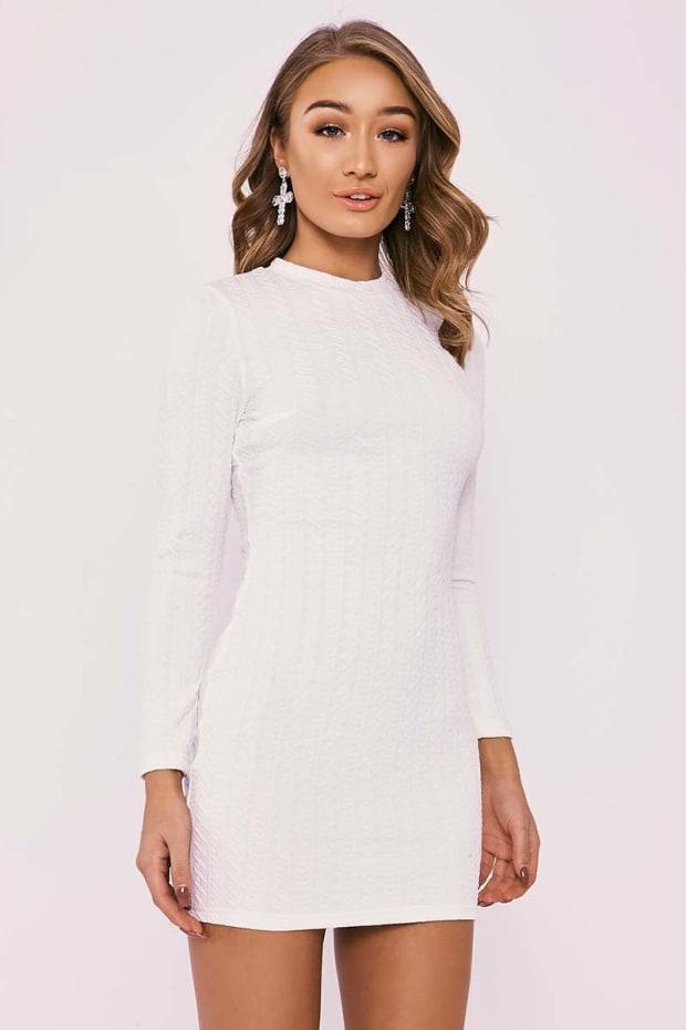 DALY WHITE TEXTURED LONG SLEEVE MINI DRESS