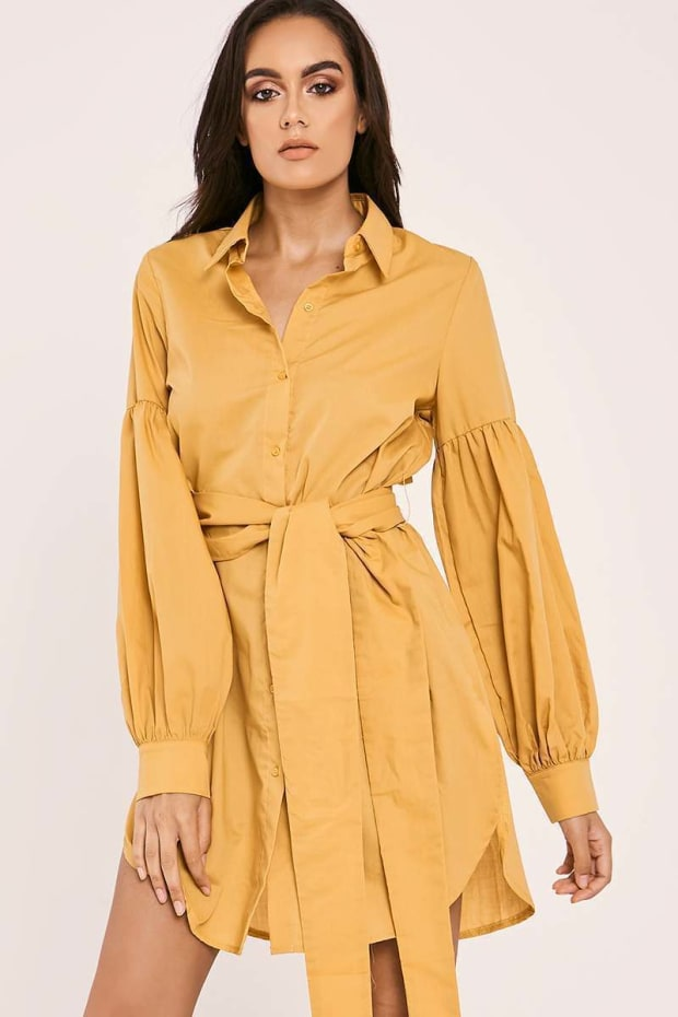 DARILYN MUSTARD TIE WAIST BALLOON SLEEVE SHIRT DRESS