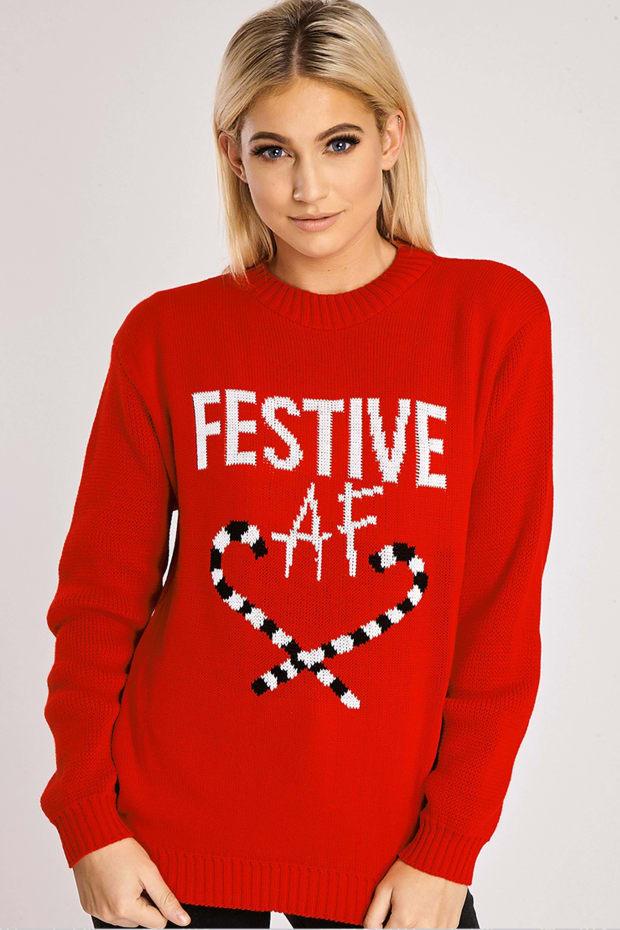Festive AF Red Christmas Jumper