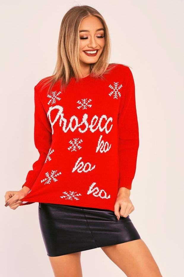 Prosecc Ho Ho Ho Red Christmas Jumper