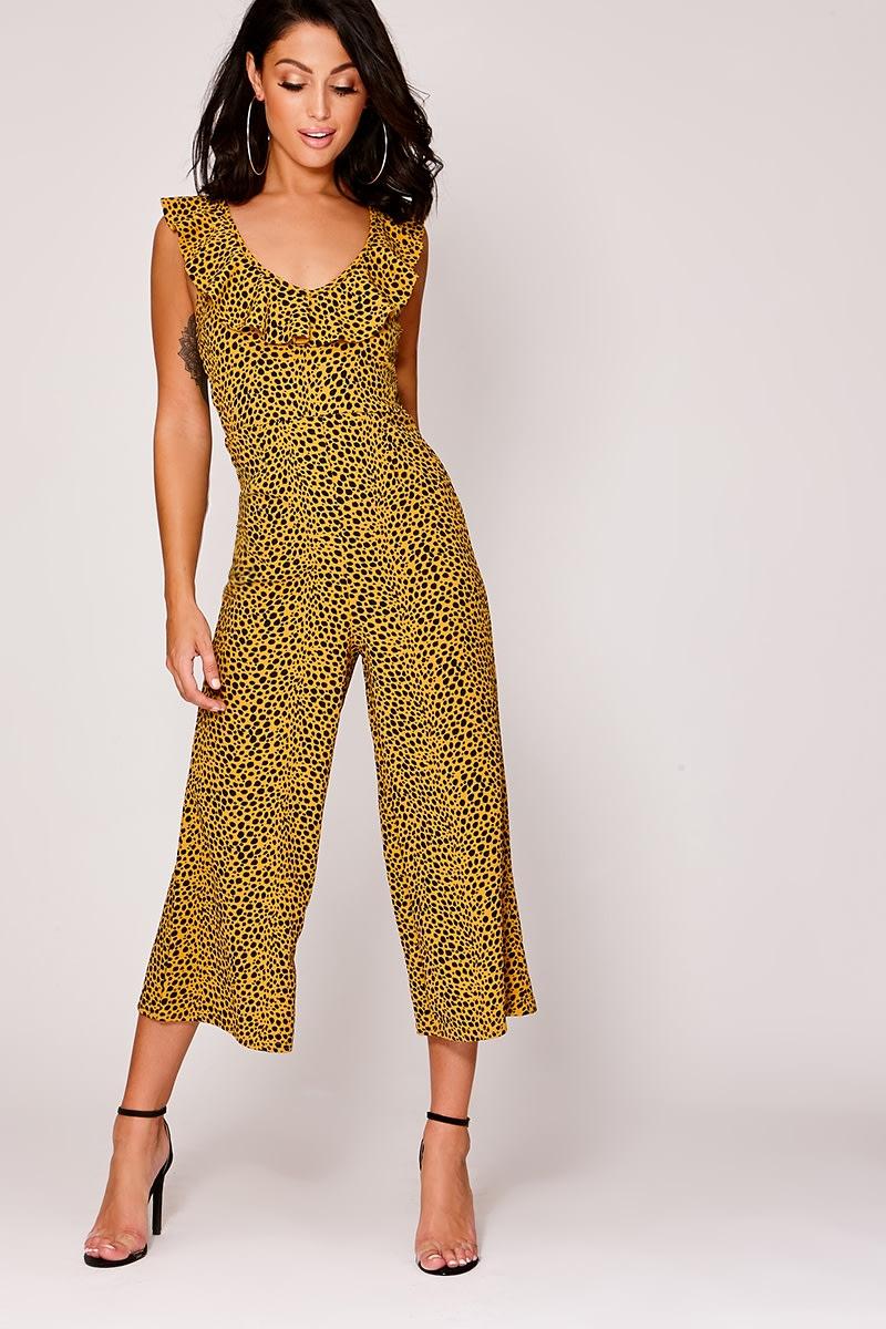 0e3b3b7dcf7 Easton Mustard Leopard Print Frill Culotte Jumpsuit