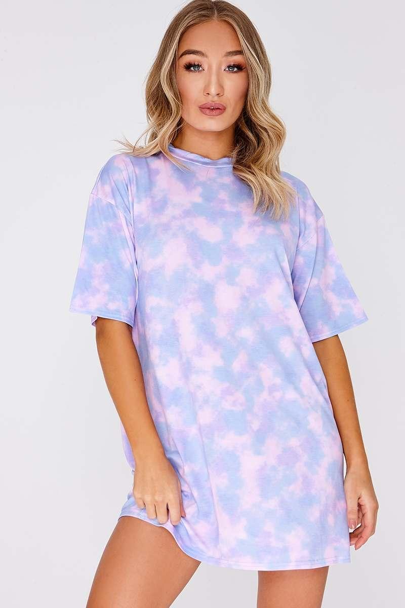 b4d8e0d00e0 Faythe Lilac Tie Dye Oversized T Shirt Dress