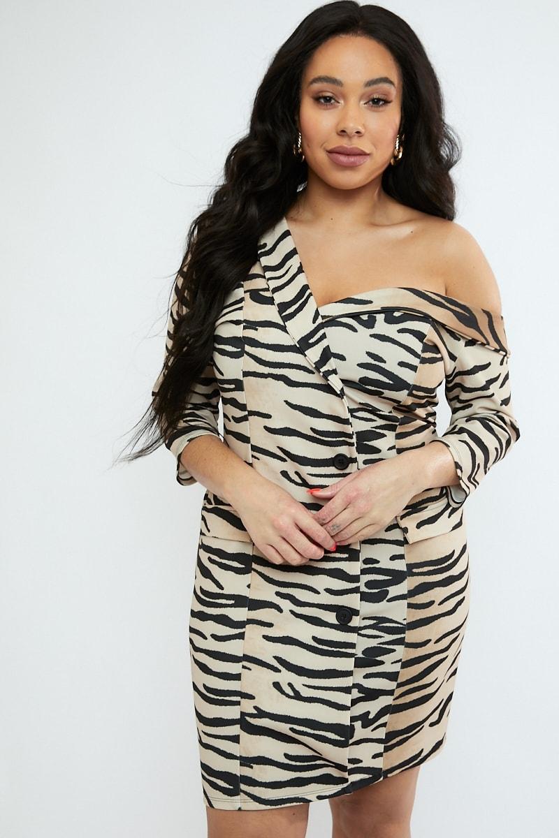 810de21c80d0d Curve Emily Atack Ombre Tiger Print Off Shoulder Blazer Mini Dress ...
