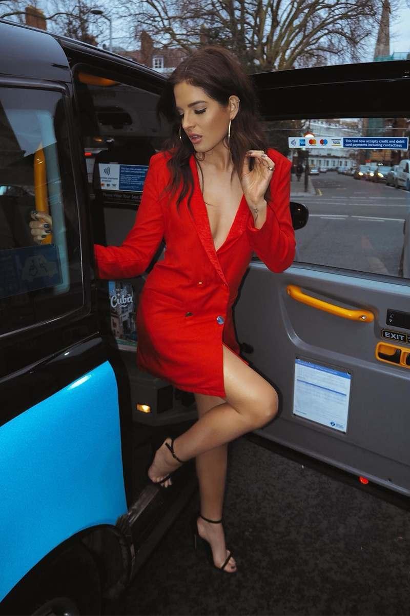 76138360a7162 Carleigh Red Gold Button Blazer Dress