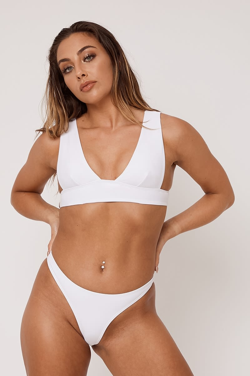7fb7d7e9b2 White Mix   Match Thong Bikini Bottoms