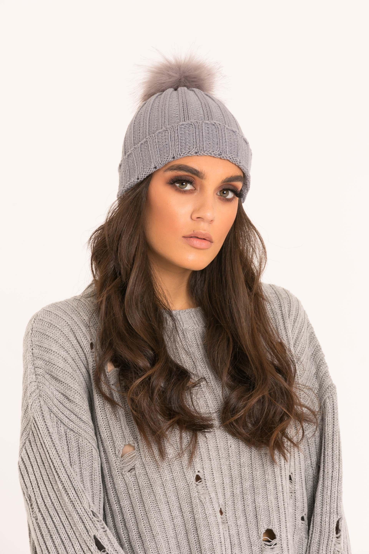 48b60e706f4 Grey Faux Fur Pom Pom Beanie Hat