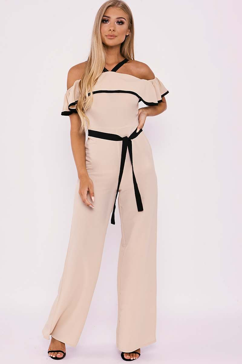 d405e4bf21d Billie Faiers Nude Ruffle Bardot Palazzo Jumpsuit