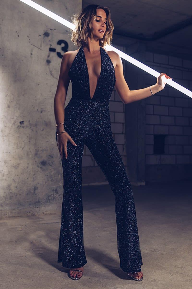 51b62228bcb5 Emily Shak Black Glitter Velvet Plunge Halterneck Jumpsuit