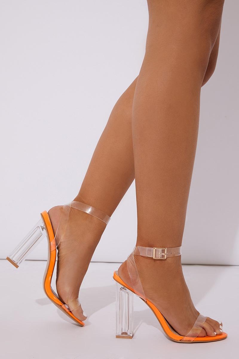 490482c09369 Milindia Neon Orange Clear Strap Block Heels