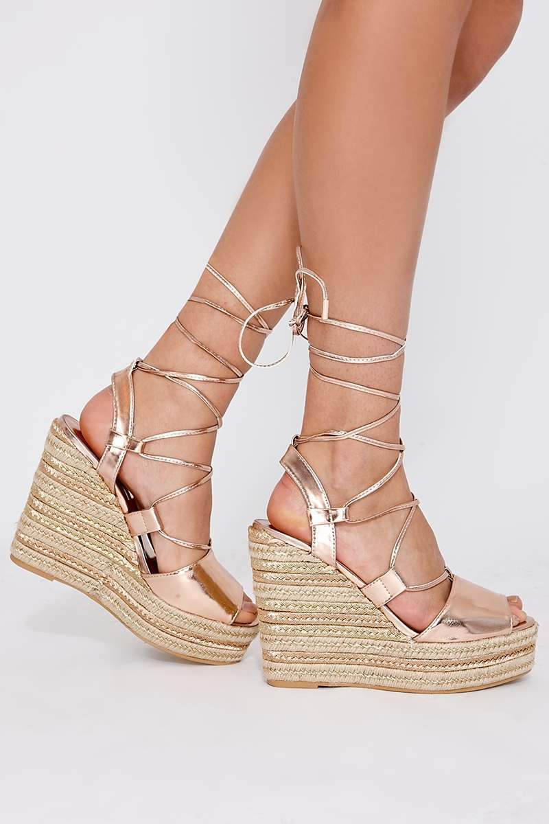 3360aaa6ca4 Poni Rose Gold Lace Up Espadrille Wedges