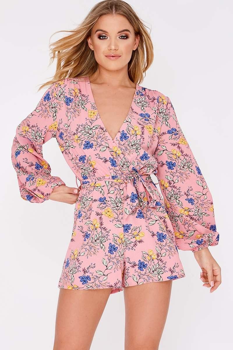 d2983d9cc54 Gabria Pink Floral Plunge Playsuit