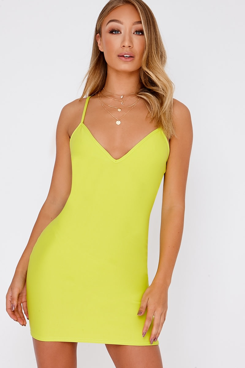 6606b704bc Basic Lime Scuba Plunge Strappy Bodycon Dress