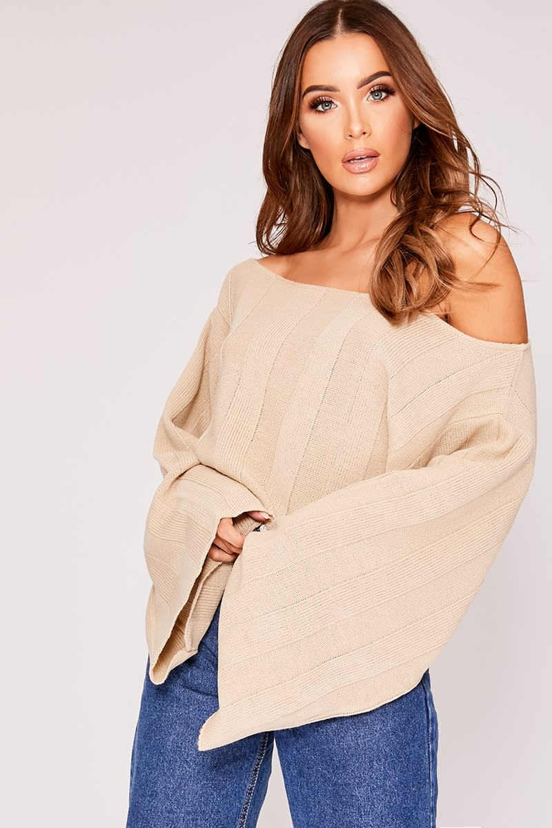 64cd0d5445b Kyra Stone Wide Sleeve Off The Shoulder Jumper