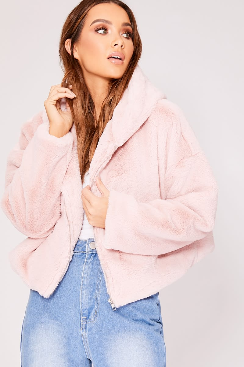 dbeeb4fffdf Ivy Pink Faux Fur Hooded Cropped Jacket