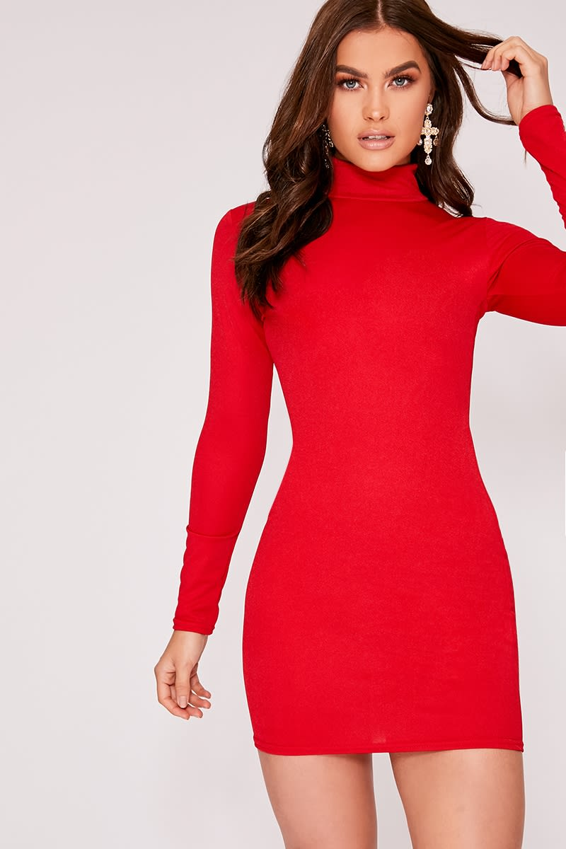 cf3de37ee129 Izzella Red High Neck Bodycon Dress