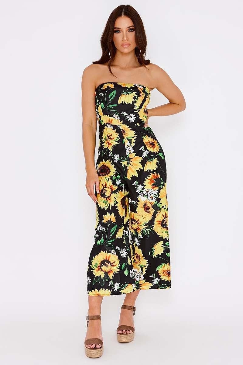 e644a107643 Cynlee Black Sunflower Bandeau Culotte Jumpsuit