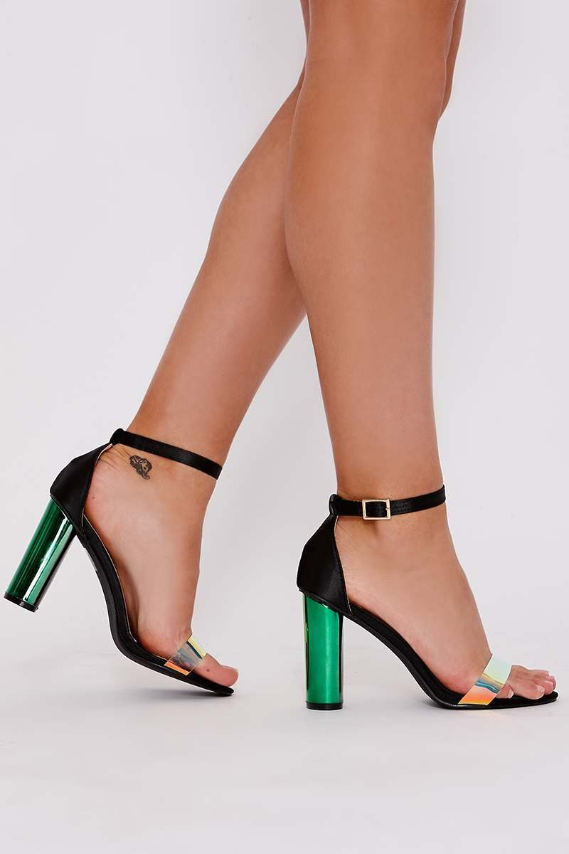 1a86c3b634db Zyana Black Satin Iridescent Clear Strap Barely There Heels