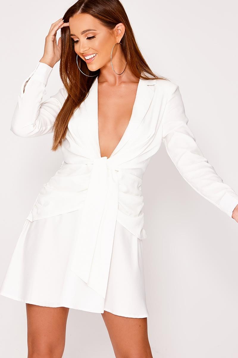292435494d Beau White Plunge Wrap Tie Front Shirt Dress