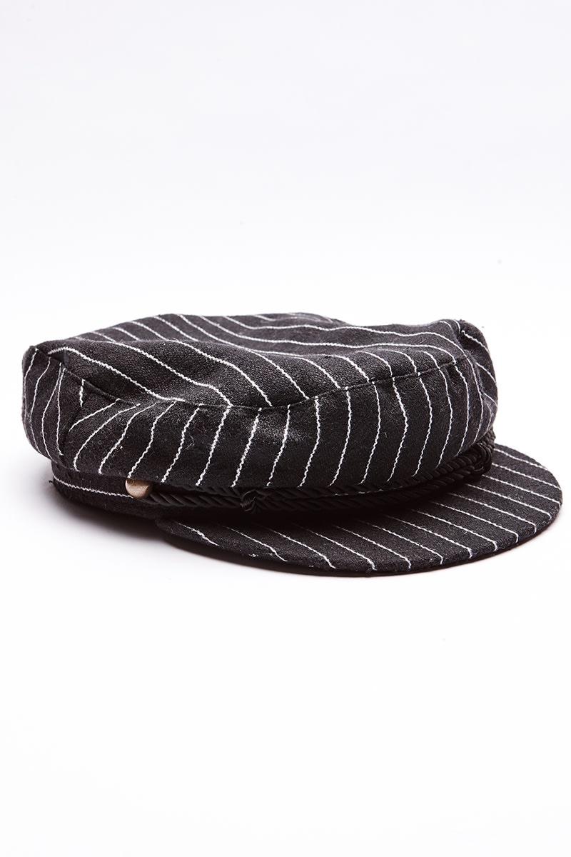 f58ffdd9d57 Black Pinstripe Baker Boy Hat