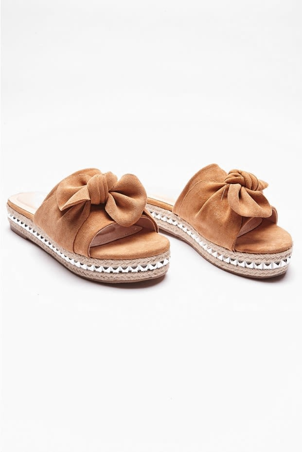 ff6924e5d5d5 Rainia Tan Faux Suede Bow Flatform Sliders