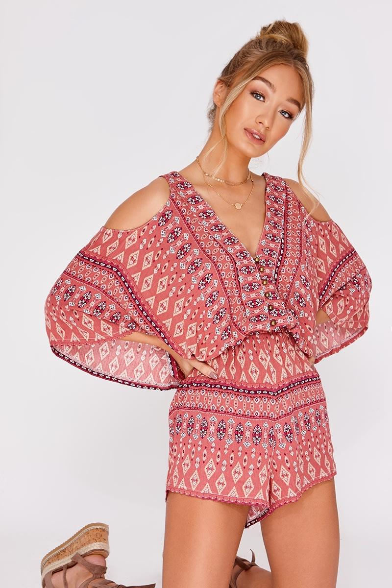 b1a094f0eb Aadila Pink Mosaic Cheesecloth Playsuit