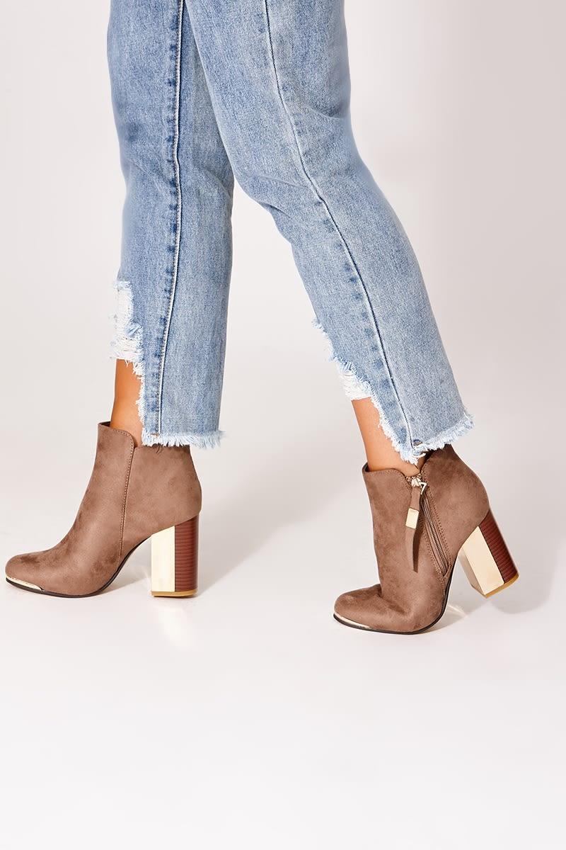 efc85eb724e6 Vivia Taupe Faux Suede Colourblock Heel Ankle Boots