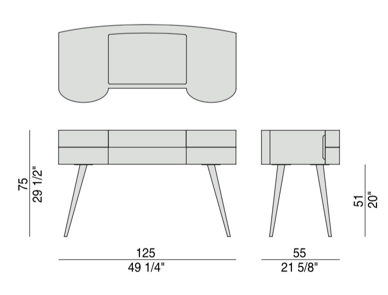 Micol dressing table available in different finishings for Porada beauty dressing table
