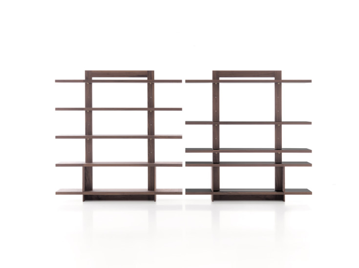 Agatha: Bookcase with 5 shelves in different finishings