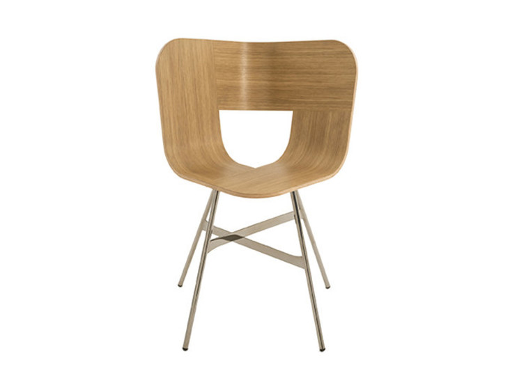 Tria Metal: Chair with natural oak seat and chromed legs