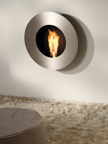 Chapeau: Wall mount fireplace Ø800 mm D 170 mm